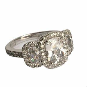Diamonique Ring Three Stone Sterling Silver CZ